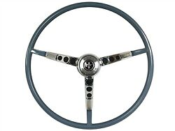 1965 Ford Mustang Steering Wheel Kit W/horn Ring And Spring - Blue
