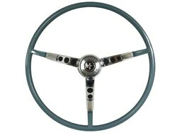 1965-66 Ford Mustang Steering Wheel Kit W/horn Ring And Spring - Aqua