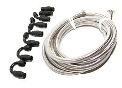 12ft An6 Ss Braided Line+8pcs An6 Black Swivel Hose End Fitting Combo