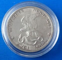 German Empire Prussia 2 Mark 1913 100 Years Napoleon Defeated Unc