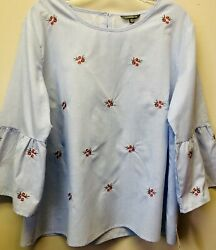 New Hannah Women XL Chambray Embroidered Rose Floral Hippie Boho Bell Sleeve $25.00