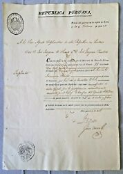 Peru Promissory Note, Bill Of Exchange Grant For Services Independence War 1826