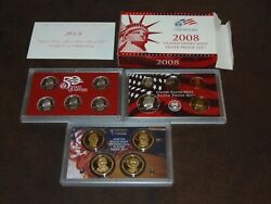 2008 Us Mint Silver Proof Set 90 State Quarters Kennedy - 14 Coins Dw-5