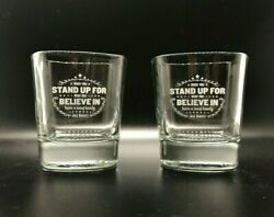 Set Of 2 - 10 Oz Jack Daniels Whiskey Rocks Square Glasses When You Stand Up