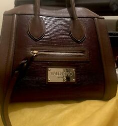 Valentino Garavani Rich Brown Leather Women Tote Purse Designer Fashion Bag