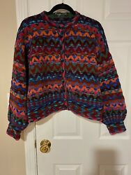 Maggie White Made In England Art To Wear Chenile Knit Cardigan Sweater Size M