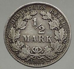 1905 Wilhelm Ii Of Germany With Eagle Genuine German Silver 1/2 Mark Coin I56907