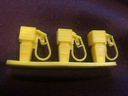 Vintage Gas Pumps Set Of 3 Yellow Attached Toy Service Station