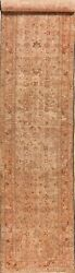 Pre-1900 Antique Muted Heriz Geometric Hand-knotted Palace Size Runner Rug 3x17