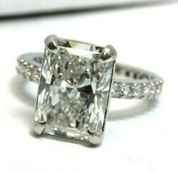 Platinum size 4.5 engagement ring  5.22ct radiant diamond DSI1 GIA 6177509251