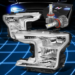 Fit 2018-2020 Ford F150 Pickup Truck Oe Style Headlight W/led Slim Style Chrome