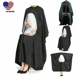 Black Hair Cutting Cape Gown W/ Viewing Window Salon Barber Hairdressing Cloth