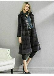 Saga Mink Fur Coat 3/4 Length With Notched Collar Gray Red Purple Or White
