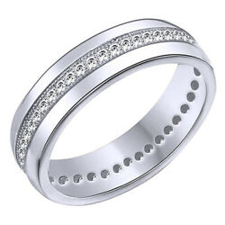Round Cubic Zirconia Anniversary Band Ring 14k White Gold Over Sterling Silver