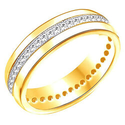 Round Cubic Zirconia Anniversary Band Ring 14k Yellow Gold Over Sterling Silver