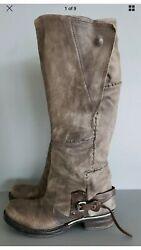 A.S.98 Tall Handmade Leather Equestrian Style Boots Taupe Size 38 $234.00