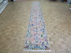 3 X 19and03910 Runner Hand Knotted Pink Turkish Oushak Oriental Rug G8572