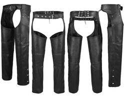 ARD Black Motorcycle Leather Chaps Pants Biker Cowboy Riding Racing S to 6XL $40.99