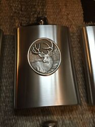 Pewter Flask, Mule Deer, Wildlife Themed, 8 Ounces, Stainless Steel With Pewter.