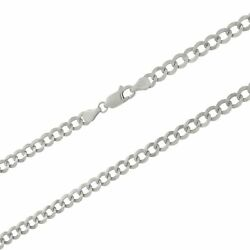 Solid 10k White Gold 5mm Curb Cuban Chain Pendant Necklace Lobster Clasp 16-30