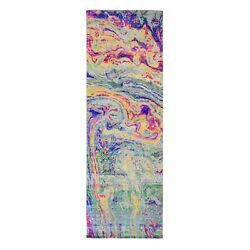 3and039x9and0392 Colorful Sari Silk With Textured The Lava Design Runner Rug G48774