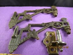 Old Antique Vintage 3 Pc Oil Lamp Parts Swing Arms And Other Bracket