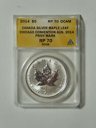 2014 5 Canadian Silver Maple Leaf Ana Chicago Convention Privy Pr70 Dcam Anacs