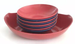 9pc Vintage Oneida Red And Blue Melamine Serving Chip And 8 Side Bowls Melmac Retro