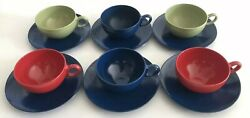 6pc Oneida Deluxe Od Red Green Melmac Melamine Tea Cup Blue Saucer Sets Teacup