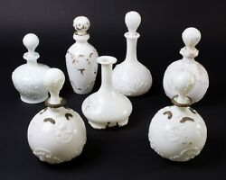 Lot Of 7 Vintage Milk Glass Decanter Bottles With Stoppers Gold Painted Embossed