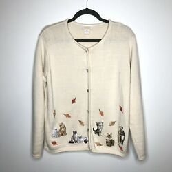 Vtg TIA Designs Womens M Cardigan Sweater Cats Fall Leaves Rhinestones Buttons
