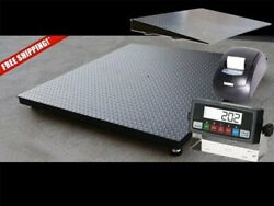 New 60 X 60 5and039 X 5and039 Heavy Duty Floor Scale With Ramp And Printer 10000 X 1 Lb