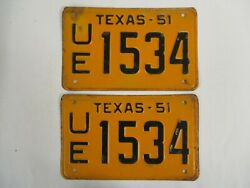 Pair Nice 1951 Texas License Plate Tag Clear For Registration