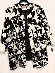 Nipon Boutique Black amp; White Clutch Jacket Coat Size 24 W New With Tag $24.00