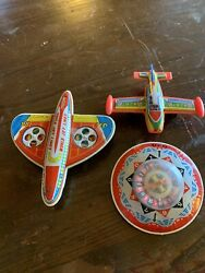 Vintage Friction Toy Lot Spaceship Airplanes Lot Of 3