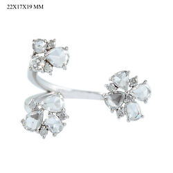 Solid 18k White Gold Diamond Floral Between The Finger Ring Jewelry Gift For Her