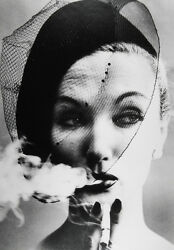 William KLEIN: Smoke + Veil Paris (Vogue) 1958  Silver print  SIGNED!!!