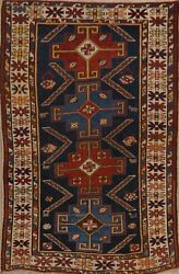 Pre-1900 Antique Vegetable Dye Hand-knotted Shirvan Geometric Wool Area Rug 3x5