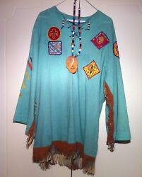 Vtg 70s Ymca Tunic Top Bead Leather Necklace Indian Guides Patches Eagle Fringe