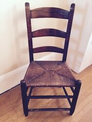 Antique 19th - Early 20th C Shaker Straight Chair Woven Seat