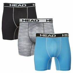 HEAD Mens Performance Underwear 3-PACK Boxer Briefs S-5XL PolyesterSpandex