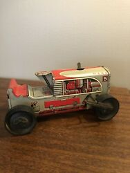 Vintage 1950s Marx Tin Litho Wind Up Red Bulldozer Caterpillar Tractor Toy Parts