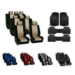 3row Car Seat Covers Neoprene Edgy Piping 8 Seaters W/ Trimmable Vinyl Floor Mat