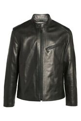 Andrew Marc New York Menand039s Gibson Slim Leather Moto Jacket Msrp 695