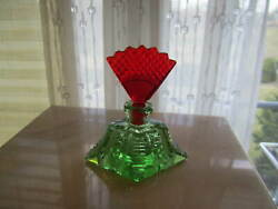 Rare Antique Czech Ruby Red And Green Glass Perfume Bottle