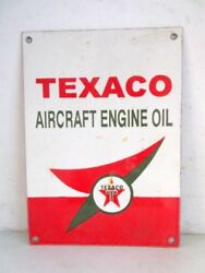 Collectible Texaco Aircraft Engine Oil Advertisement Porcelain Enamel Sign Board