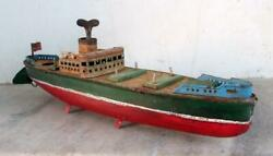 Originally Vintage Modern Ship Toy Wind Up Boat Litho Tin Toy Made In Japan