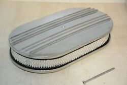 15 Oval Half Finned Polished Aluminum Classic Nostalgia Air Cleaner Filter