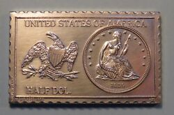 1839 U. S. Seated Liberty Half Dollar Numistamp Medal Coin 1975 Mort Reed