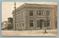 State Bank Ladysmith Wisconsin Rppc Rusk County Wi Antique Horse Photo 1913